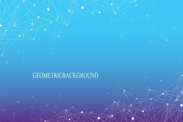 연결된 선과 점이 있는 기하학적 추상 배경. 분자 구조 dna 또는 뉴런 구성. 벡터 일러스트 레이 션.