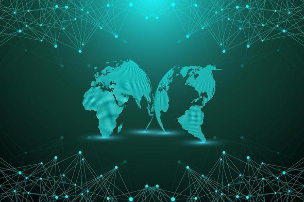 연결된 선과 점이 있는 기하학적 추상 배경. 프레젠테이션을 위한 네트워크 및 연결 배경. 그래픽 다각형 배경입니다. 과학적인 벡터 일러스트 레이 션.