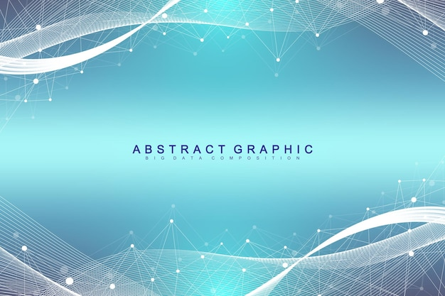 接続された線と点を持つ幾何学的な抽象的な背景。プレゼンテーションのネットワークと接続の背景。グラフィックの多角形の背景。波の流れ。科学的なベクトルイラスト。
