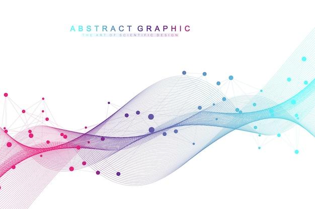 연결된 선과 점이 있는 기하학적 추상 배경. 프레젠테이션을 위한 네트워크 및 연결 배경. 그래픽 다각형 배경입니다. 웨이브 플로우. 과학적 벡터 일러스트 레이 션.