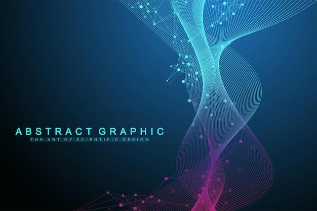 Геометрический абстрактный фон с подключенной линией и точками. фон сети и подключения для вашей презентации. графический фон многоугольной. волновой поток. научные векторные иллюстрации.