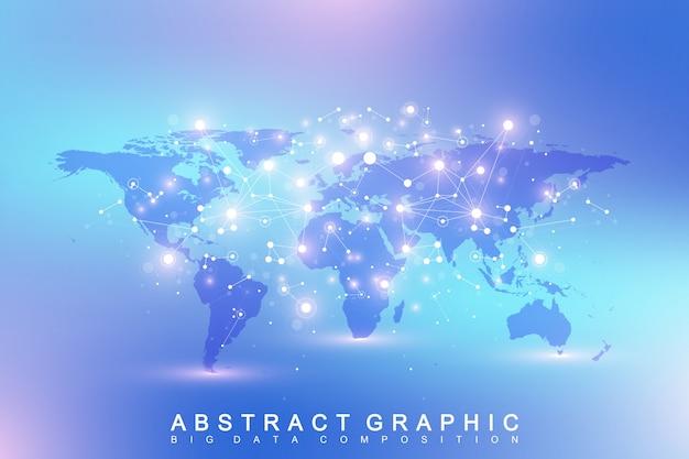 Геометрический абстрактный фон с подключенной линией и точками. сеть и связь фона. графический фон многоугольной с картой мира. научная иллюстрация.