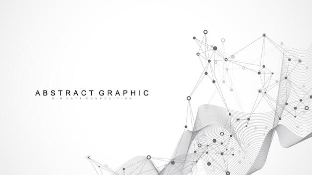 接続された線と点を持つ幾何学的な抽象的な背景。ネットワークと接続、多角形の背景。図。