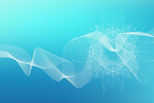 接続された線と点を持つ幾何学的な抽象的な背景。神経網。プレゼンテーションのネットワークと接続の背景。グラフィック多角形の背景。波の流れ。ベクトルイラスト。