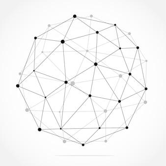 Геометрический абстрактный фон с подключенной линией и точками.