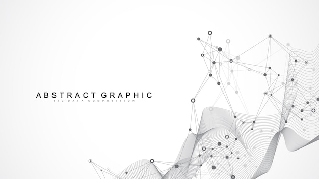 Geometric abstract background with connected line and dots. network and connection, polygonal background. illustration.