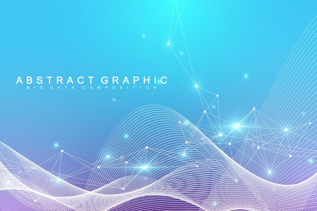 Geometric abstract background with connected line and dots