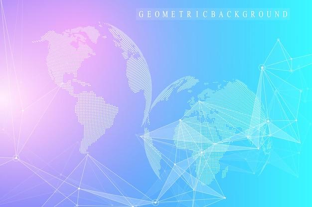 연결된 선과 점이 있는 기하학적 추상 배경. 인공 지능 배경입니다. 분자 및 통신 배경입니다. 디자인을 위한 그래픽 배경입니다. 벡터 일러스트 레이 션.