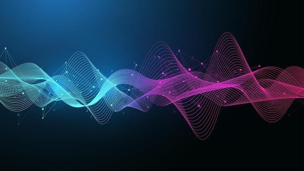 연결된 선과 점이 있는 기하학적 추상 배경. 연결 흐름 지점. 분자 및 통신 배경입니다. 디자인을 위한 그래픽 연결 배경입니다. 벡터 일러스트 레이 션.