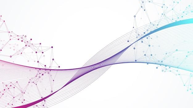 接続された線と点を持つ幾何学的な抽象的な背景。接続フローポイント。分子とコミュニケーションの背景。デザインのグラフィック接続の背景。ベクトルイラスト。