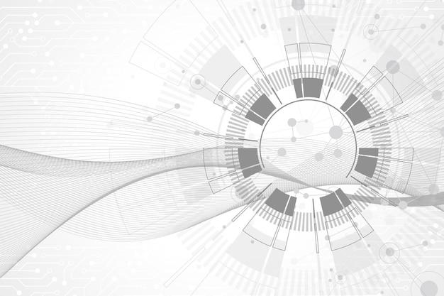 연결된 선과 점이 있는 기하학적 추상 배경. 웨이브 플로우. 분자 및 통신 배경입니다. 디자인을 위한 그래픽 배경입니다. 벡터 일러스트 레이 션.