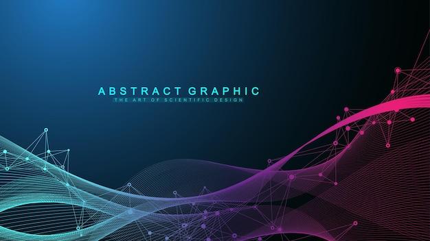 接続された線と点を持つ幾何学的な抽象的な背景。波の流れ。分子とコミュニケーションの背景。デザインのグラフィック背景。ベクトルイラスト。