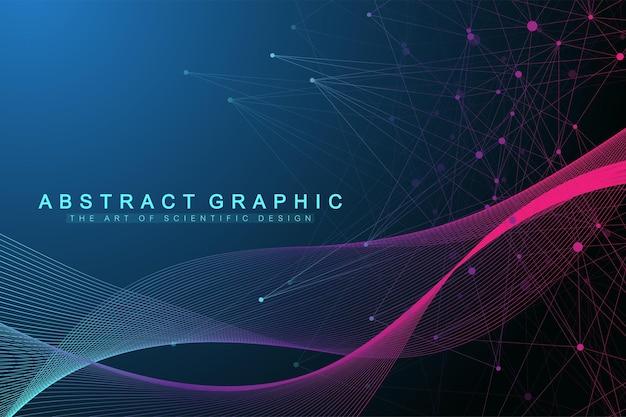 接続された線と点を持つ幾何学的な抽象的な背景