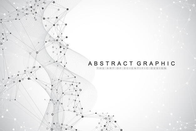 Geometric abstract background with connected lines and dots. connectivity flow point. molecule and communication background.