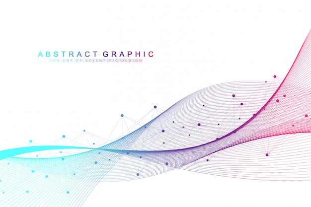 Geometric abstract background with connected lines and dots. wave flow. molecule and communication background. graphic background for your design. illustration.