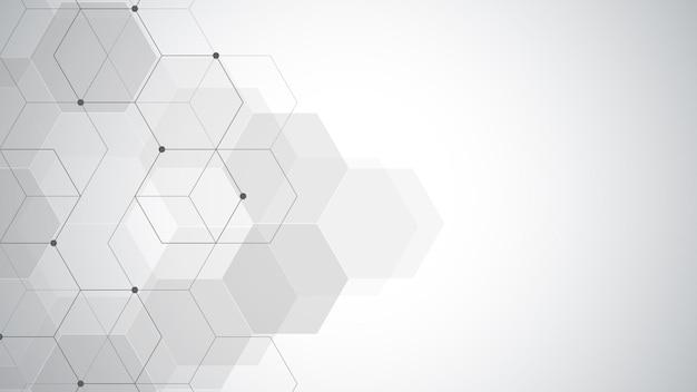 간단한 육각형 요소와 기하학적 추상 배경