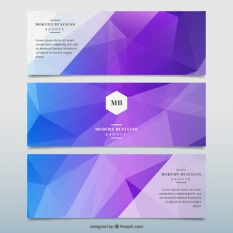 Geometric abstract banners in purple tones