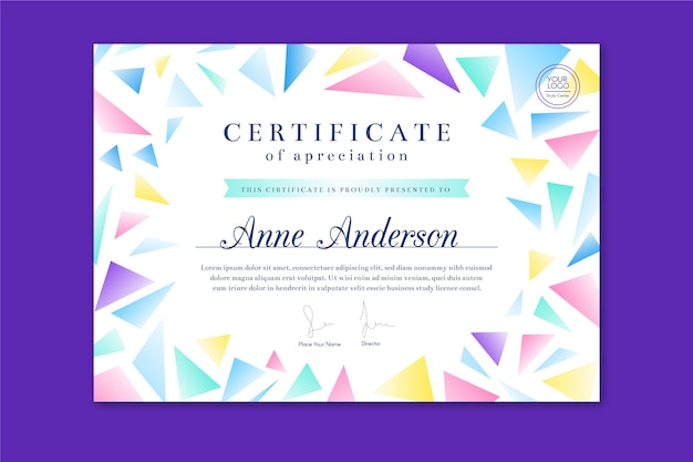 Geometric abstract certificate template