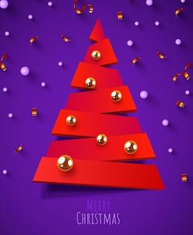 幾何学的な抽象的なクリスマスツリーメリークリスマスと新年あけましておめでとうございますバナー