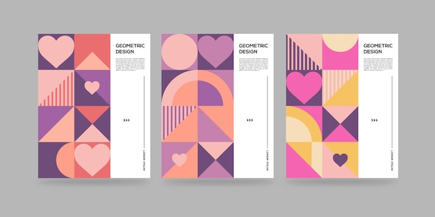 Geometric abstract covers with hearts