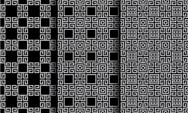 Geometric abstract ethnic style seamless patterns black and white