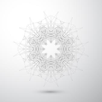 연결된 선과 점이있는 기하학적 추상 형태.