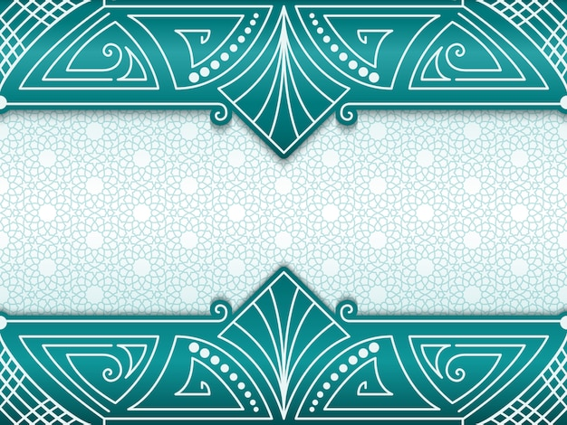 Geometric abstract frame on background with ethnic ornament.
