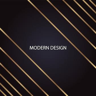 黒の背景に幾何学的な抽象的な黄金の斜め線モダンで豪華なデザイン