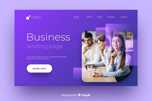 Geometric abstract landing page with photo