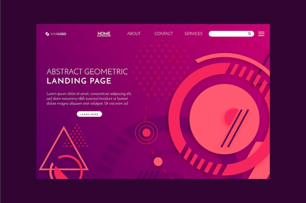 Geometric abstract landing page