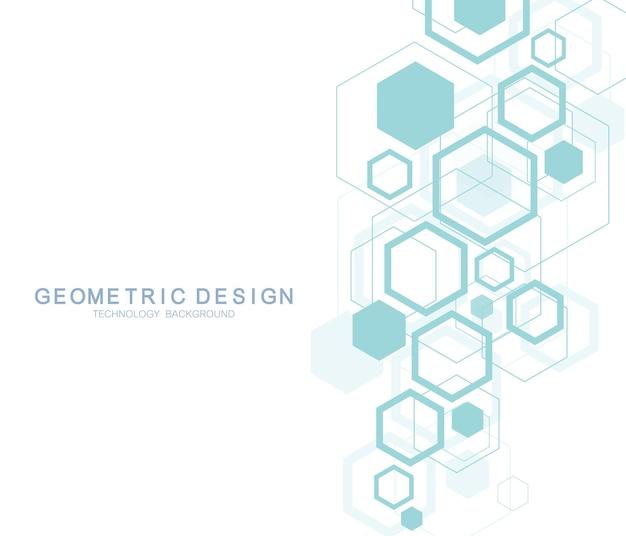 의학, 과학, 기술, 화학에 대한 기하학적 추상 분자 배경. 과학적 dna 분자 개념입니다. 벡터 육각형 그림입니다.