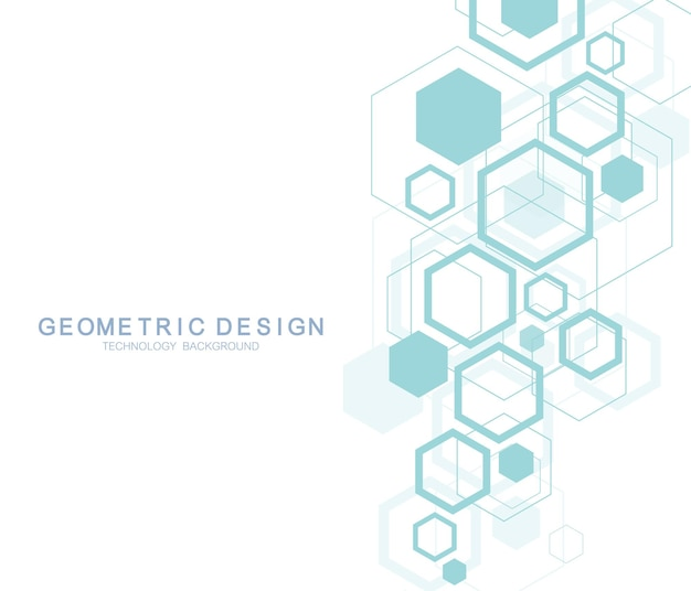 Geometric abstract molecule background for medicine, science, technology, chemistry. scientific dna molecule concept. vector hexagonal illustration.