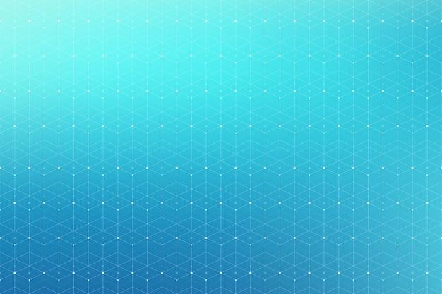 接続された線と点を持つ幾何学的な抽象的なパターン。シームレスな背景。