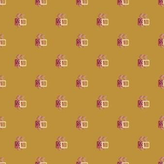 지그재그 요소와 사각형 기하학적 추상 패턴입니다. 황토색과 분홍색으로 디자인되었습니다.
