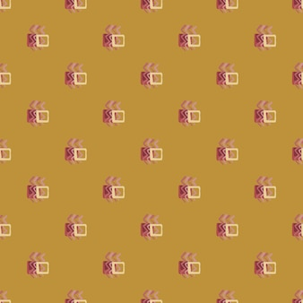 Geometric abstract pattern with zigzag elements and squares. design in ocher and pink colors.
