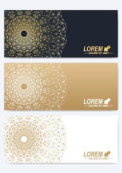 황금 만다라가 있는 기하학적 추상 프레젠테이션