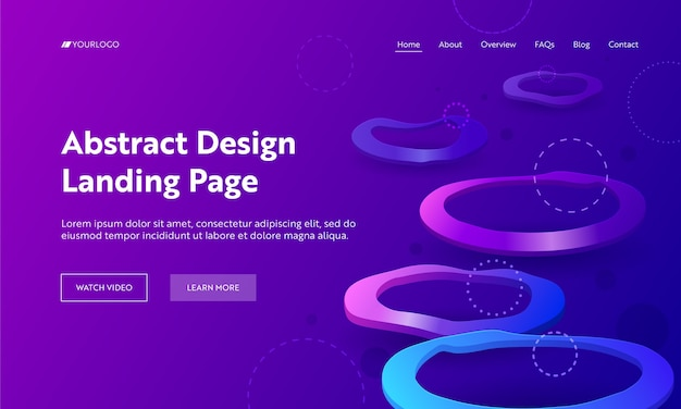 Geometric abstract purple distortion circle landing page backdrop. minimal futuristic background violet neon light. crooked colorful concept for website or web page flat vector cartoon illustration