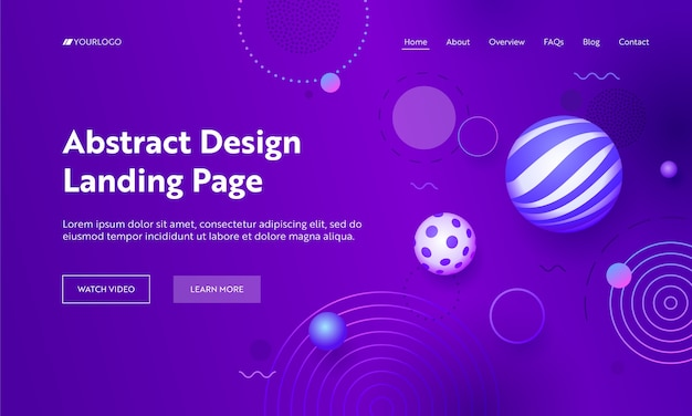 幾何学的抽象紫グラデーションランディングページの背景。バイオレットネオンライトで最小限の未来的な背景。ウェブサイトまたはウェブページフラットベクトル漫画イラストの仮想アート要素の概念