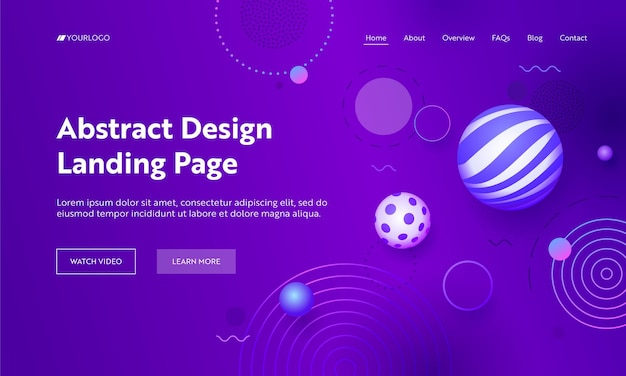 Geometric abstract purple gradient landing page background.