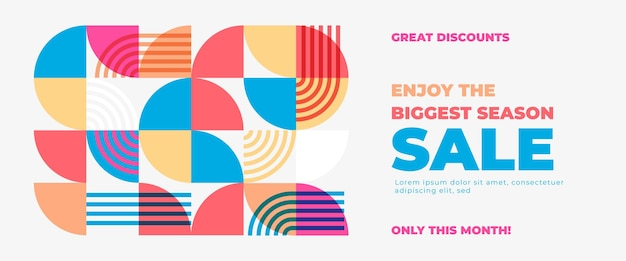 Geometric abstract sale banner with modern and colorful shapes