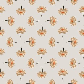 손으로 기하학적 추상 원활한 패턴 그린 오렌지 데이지 꽃 장식.