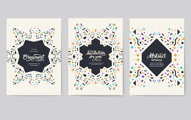 Geometric abstract vector brochure cards set. ethnic style template of flyear, magazines, banners.