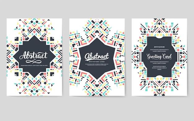 Набор карт брошюры геометрические абстрактные векторные. шаблон в этническом стиле flyear, журналов, баннеров.