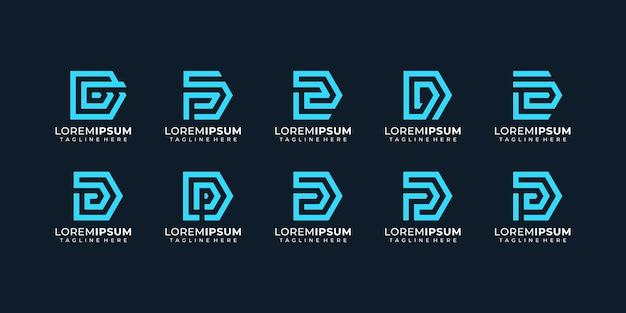 기하학적 알파벳 디지털 편지 로고 디자인 영감