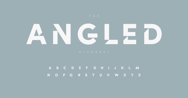 Геометрический алфавит письмо шрифт современный логотип буквы внутренний вырез засечек минималистичный вектор типографский