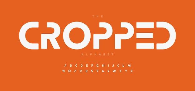 기하학적 알파벳 문자 글꼴 현대 로고 인쇄 술 최소한의 미래 벡터 인쇄 상의 디자인