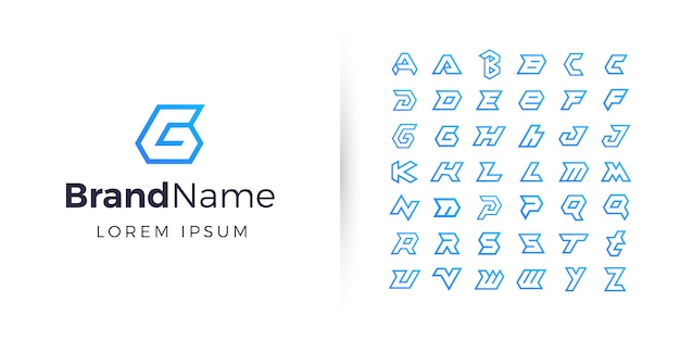 Geometric alphabet logo collection