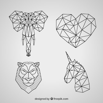 Geometric animal tattoo collection