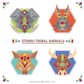 Geometric animals pack in ethnic style