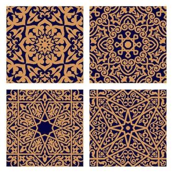 오렌지 장식 및 종교 또는 타일 디자인을위한 어두운 인디고 배경에 인터레이스 단풍 요소와 기하학적 아랍어 원활한 패턴